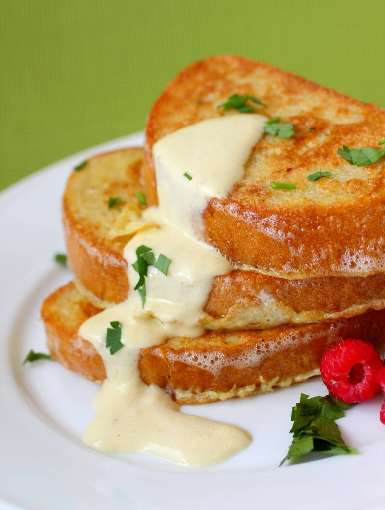 Savory Parmesan French Toast with Hollandaise Sauce • YumExpert